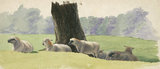 Landscape with sheep under a tree