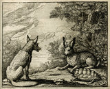 The Tortoise and the Hare; from '�sop's Fables, with his life, in English, French and Latin', 1703