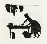 Cinderella ... ironing the sisters' linen'; from Cinderella retold by C. S. Evans and illustrated by Arthur Rackham, 1919