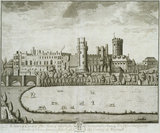 Warwick Castle, the seat of ... Lord Brooke, from T. Badeslade & J. Rocque's 'Vitruvius Brittanicus, volume the fourth', London 1739