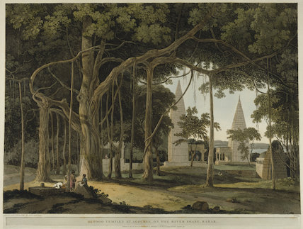 Hindoo Temples at Agouree, on the River Soane, Bahar