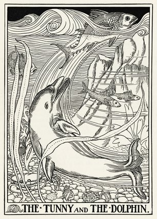 The Tunny and the Dolphin;Roger L'Estrange, from 'A Hundred Fables of Æsop', 1899