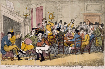 Gaming House - where a parcell of sharks meet, to bite one anothers heads off, from 'The beauties of Tom Brown?', London: printed for T. and R. Hughes [&c.], 1808