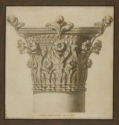 Design of a capital illustrating the supposed origin of the Corinthian order: elevation