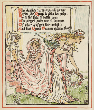 The doughty champions could not rise ...', from Walter Crane's 'Queen Summer, or the Tourney of the Lily & the Rose', London [&c.]: Cassell & Co., 1891