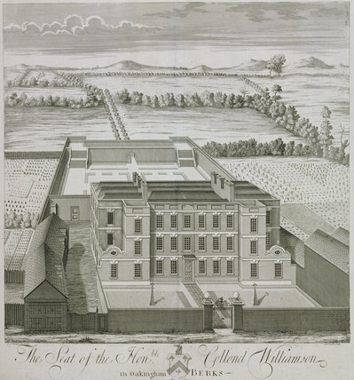 The Seat of the Hon. Colonel Williamson at Oakingham [i.e. Wokingham], Berkshire, from T. Badeslade & J. Rocque's 'Vitruvius Brittanicus, volume the fourth', London 1739