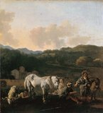 Peasants and a White Horse