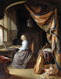 A Woman playing a Clavichord
