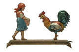 Mechanical tinplate toy girl and fowl: 1905