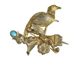Gilt brooch with bird and flower decoration: 19th century