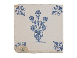 Tin-glazed earthenware tile: c. 1620-1650