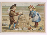 Birthday card with two children on a beach; 1885-1905