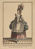 A coloured print of a woman standing; 1778
