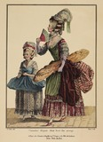 Coloured print of two women standing; 1778