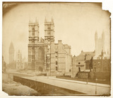 A view of Westminster Abbey from the west; c.1857.