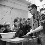 Boys in a pottery class at Blackwell Secondary Modern; c.1958
