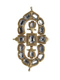 A diamond-set gold mount of symmetrical openwork; c1600