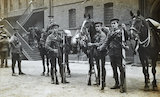 The 1st Life Guards prepare to leave Hyde Park barracks; 1914