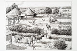 Reconstruction drawing of the Iron Age farm at Beddington
