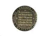 Round button badge issued to promote the Census Resistance campa