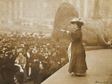 Jennie Baines speaking to a crowd at Trafalgar Square; 1908