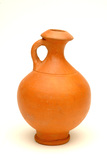 Roman flagon in orange-red Hadham ware
