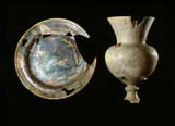 Glass plate and goblet: 16th -17th century