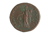 Reverse of Roman coin with Fortuna