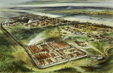 Reconstruction drawing of Londinium looking east