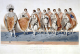 The King in His Royal Robes wearing a Cap of Estate, His Majesty's Train borne by Eight eldest Sons of Peers assisted by the Master of the Robes 19th July 1821