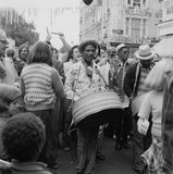 A steel drum player in a local festival at Belsize Park: 1975