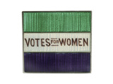 Rectangular, glass-faced suffragettes badge: 1901-1935