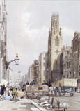 View of St. Dunstan's church and Fleet Street: 1842