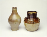 Mortlake ware stoneware bottle and Hunting jug: 18th century