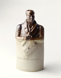 Saltglaze stoneware spirit flask: 19th century