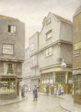 View down Cloth Fair with Dick Whittington Public House: 1888