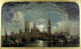 Westminster Bridge, Houses of Parliament and Westminster Abbey Seen from the River: 1872