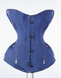 Blue ribbed silk corset: 19th century