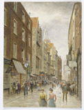 Holywell Street, Strand, looking west: 1900