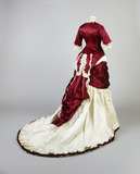 Deep red silk and ivory grosrain evening dress, back view: 19th century