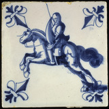 Tin-glazed decorated tile: 17th-18th century