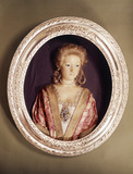 Wax portrait with portrait of a lady: 18th century