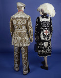 Pearly Queen and King emsemble, back view: 20th century