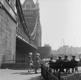 A walk alongside the Thames by Tower Bridge: 1960