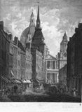 The View of Ludgate Street from Ludgate Hill Representing the Grand West Front of that Noble Edifice the Cathedral of St Paul and the Church of St Martin Ludgate: 1795