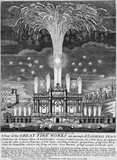 A View of the Great Fire Works on account of ye General Peace: 1748