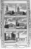 Engraving depicting six City churches: 18th century