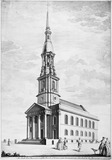The South West Prospect of the Church of St Leonard, Shoreditch, finished in the Year 1740