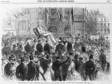 The Prince of Wales unveiling the statue of Mr George Peabody: 1869
