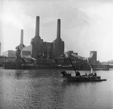 Battersea Power Station from the north bank: 1955